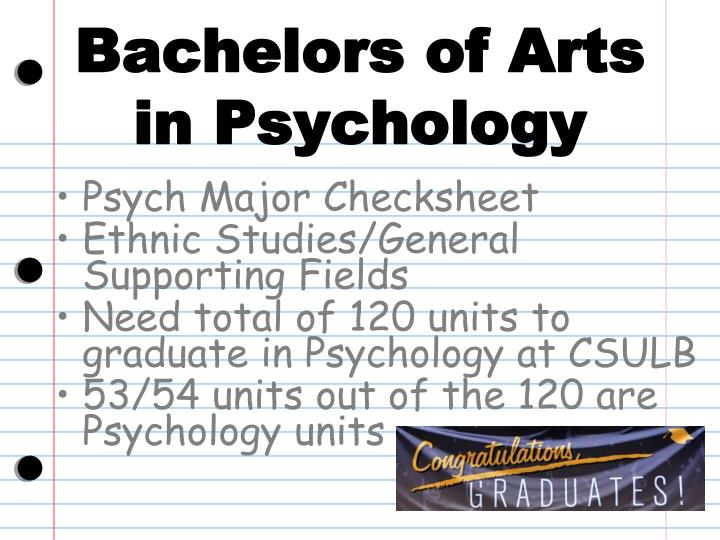 Bachelors of Arts in Psychology