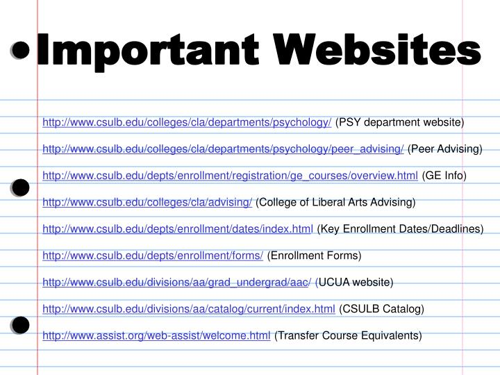 Important Websites