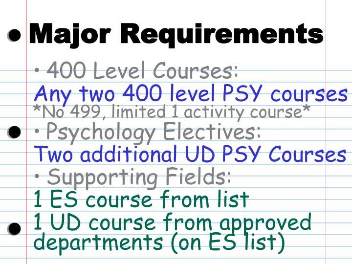 Major Requirements