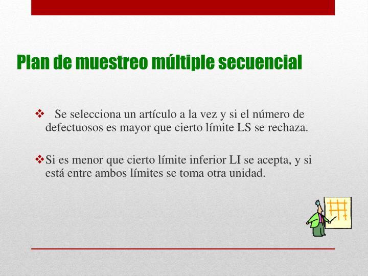 Se selecciona un artículo a la vez y si el número de defectuosos es mayor que cierto límite LS se