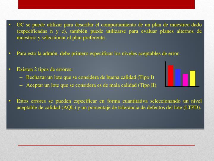 OC se puede utilizar para describir el comportamiento de un plan de muestreo dado (especificadas n y c), también puede utilizarse para evaluar planes alternos de muestreo y seleccionar el plan preferente.