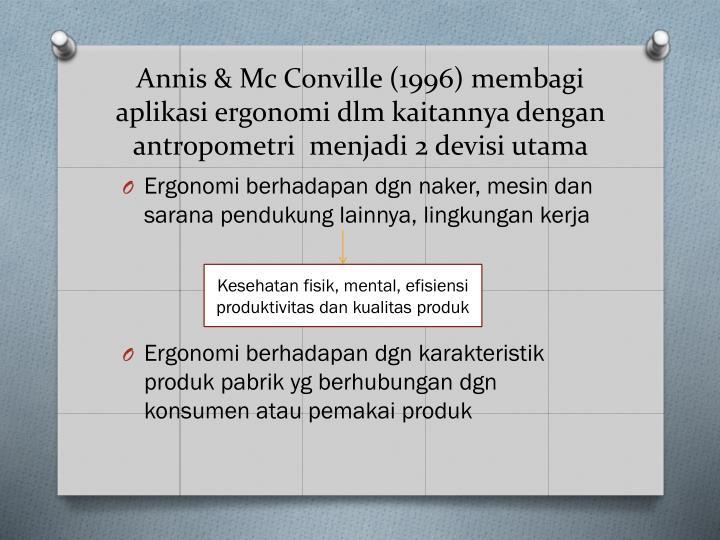 Annis & Mc Conville (1996) membagi aplikasi ergonomi dlm kaitannya dengan antropometri  menjadi 2 devisi utama