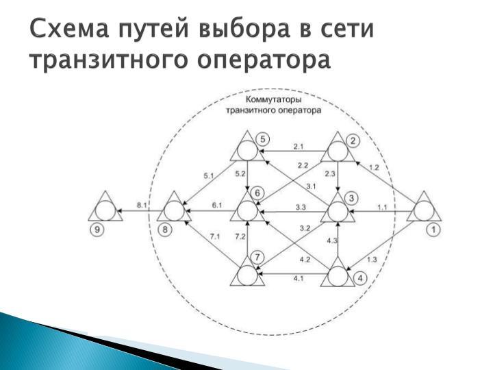 Схема путей выбора в сети транзитного оператора