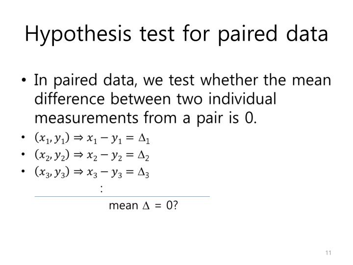 Hypothesis test for paired data