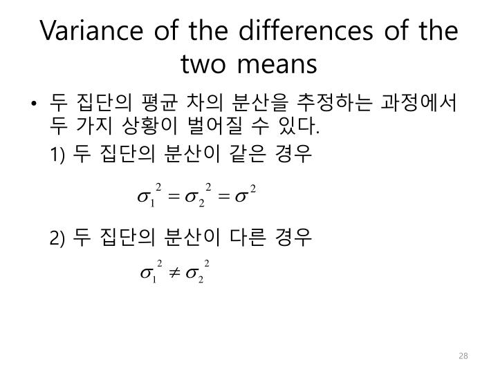 Variance of the