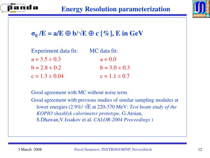 Energy Resolution parameterization