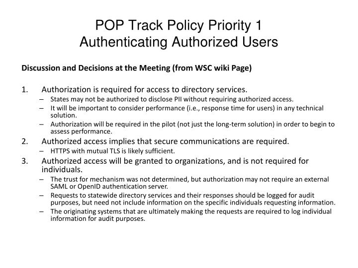 POP Track Policy Priority 1