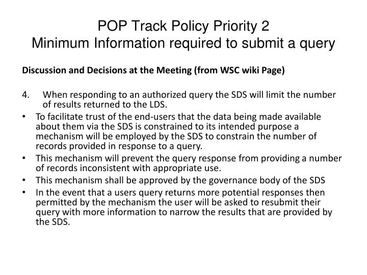 POP Track Policy Priority 2