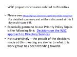 wsc project conclusions related to priorities