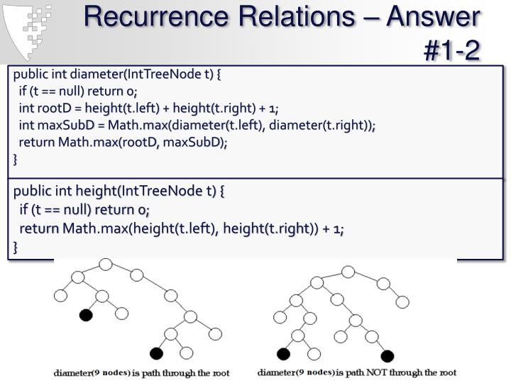 Recurrence Relations – Answer #1-2