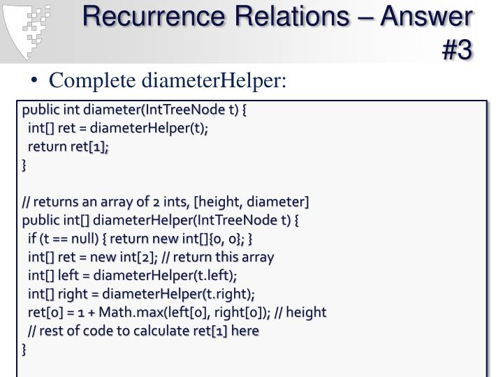 Recurrence Relations – Answer #3