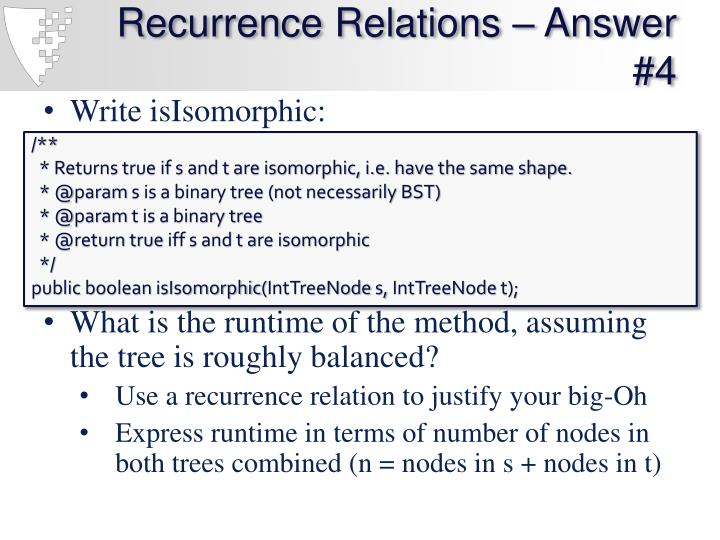 Recurrence Relations – Answer #4