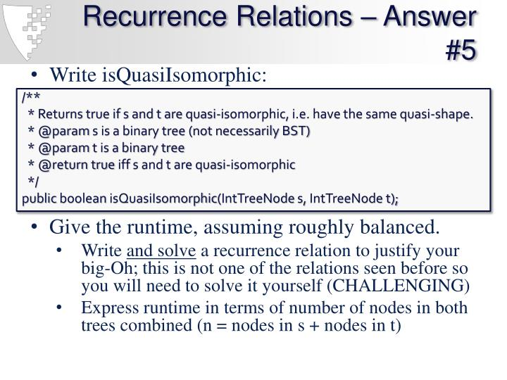 Recurrence Relations – Answer #5