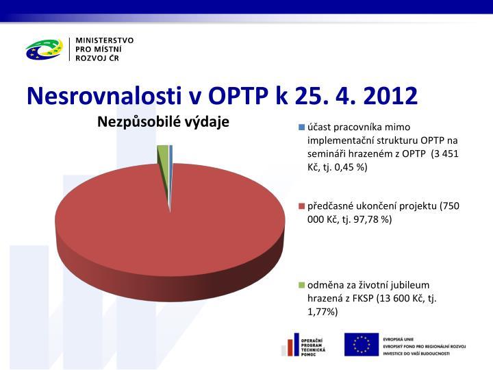 Nesrovnalosti v OPTP k 25. 4. 2012