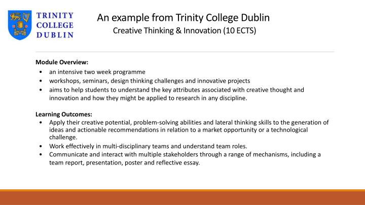 An example from Trinity College Dublin