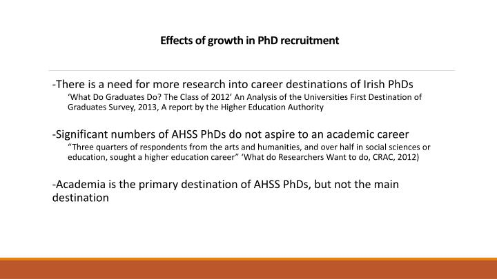 Effects of growth in PhD recruitment