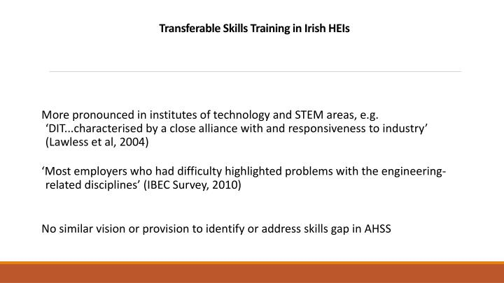 Transferable Skills Training in Irish HEIs