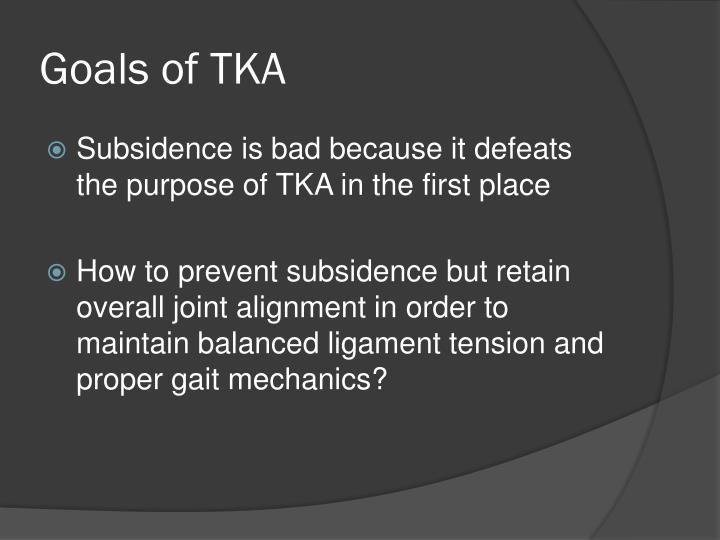 Goals of TKA