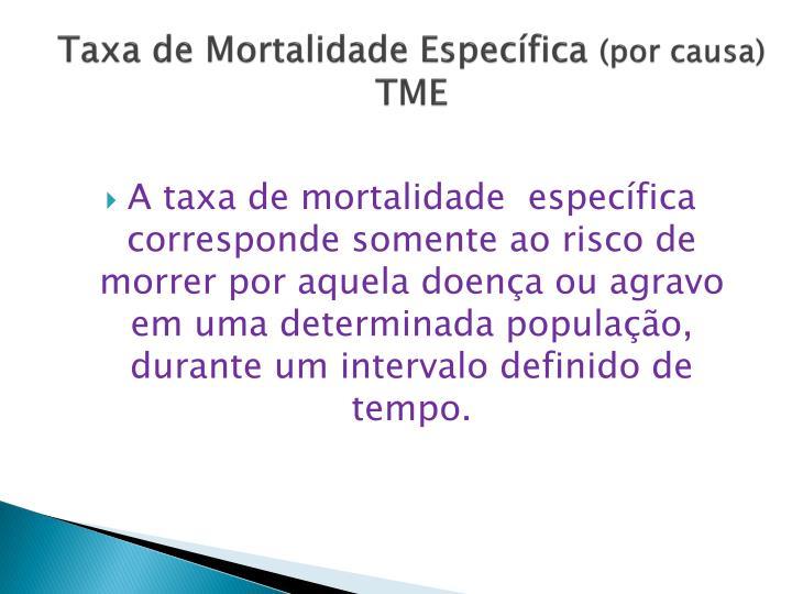 Taxa de Mortalidade Específica