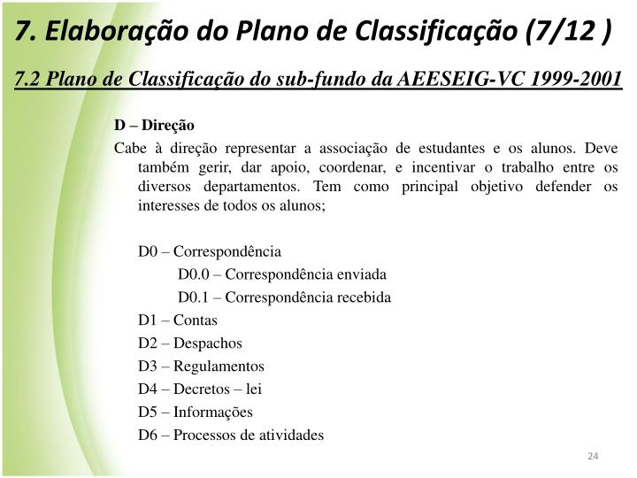 7. Elaborao do Plano de Classificao (7/12 )