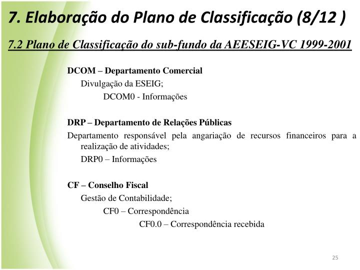 7. Elaborao do Plano de Classificao (8/12 )