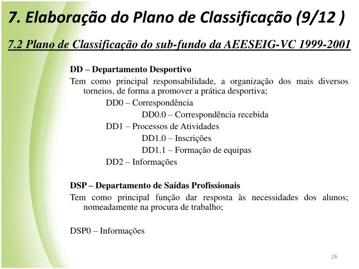 7. Elaborao do Plano de Classificao (9/12 )