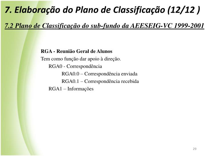 7. Elaborao do Plano de Classificao (12/12 )