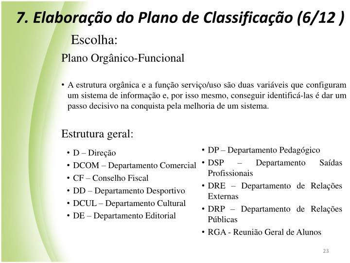 7. Elaborao do Plano de Classificao (6/12 )