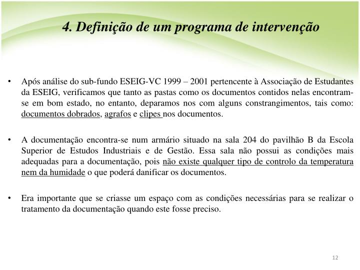 4. Definio de um programa de interveno