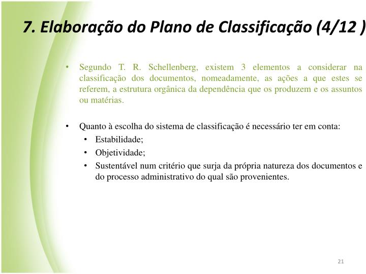 7. Elaborao do Plano de Classificao (4/12 )