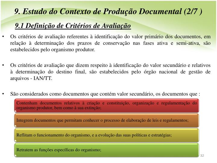 9. Estudo do Contexto de Produo Documental (2/7 )