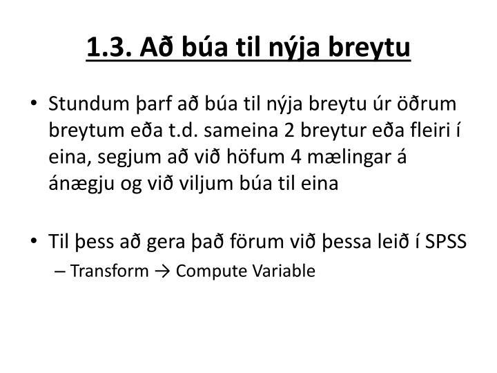 1.3. Að búa til nýja breytu