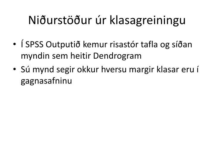 Niðurstöður úr klasagreiningu