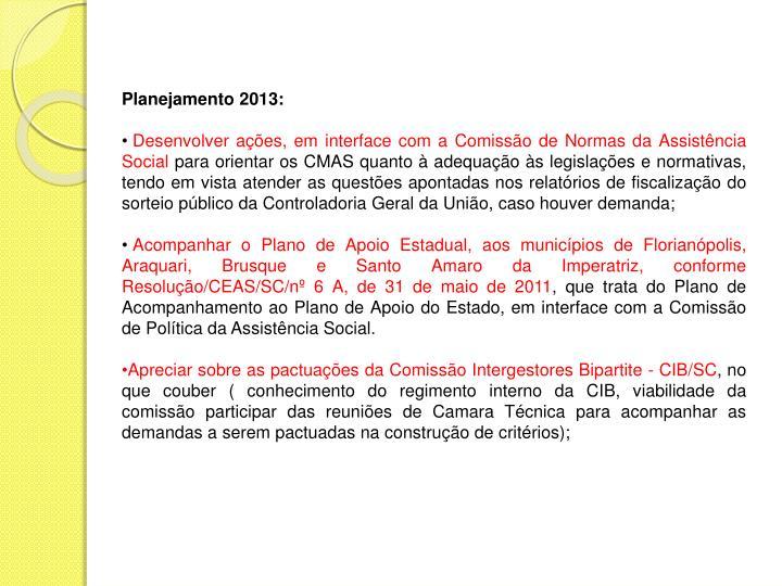 Planejamento 2013: