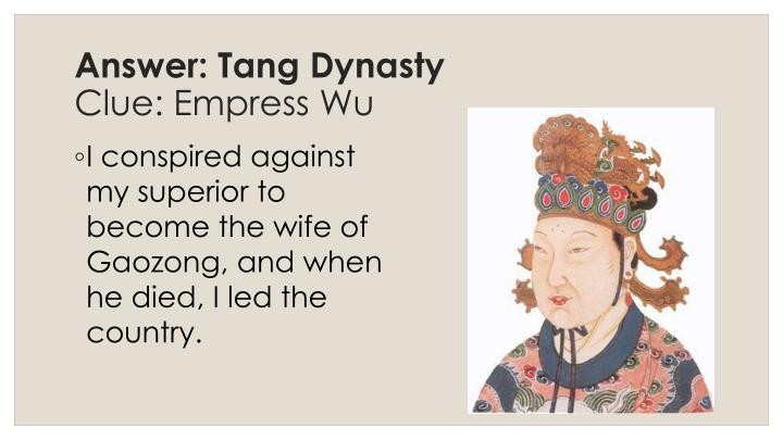 Answer: Tang Dynasty
