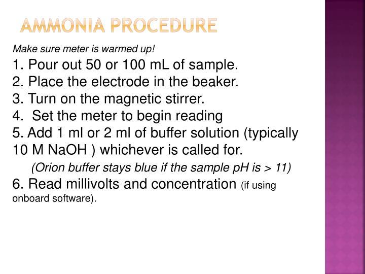 Ammonia Procedure