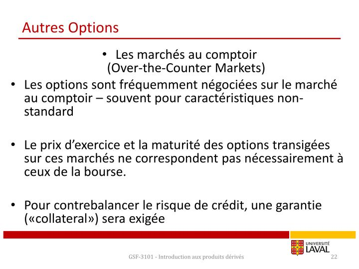Autres Options