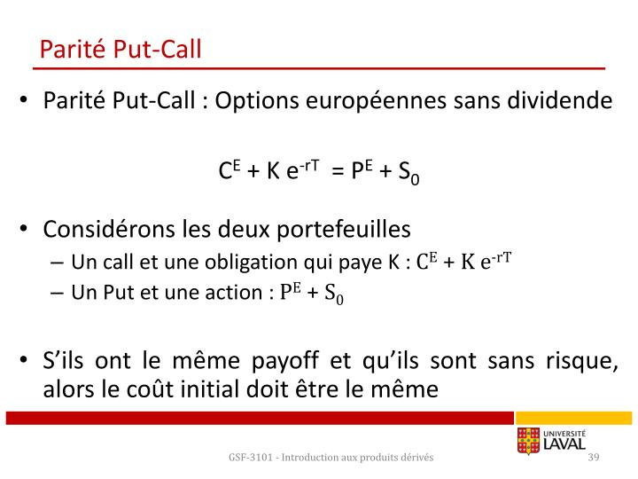 Parité Put-Call