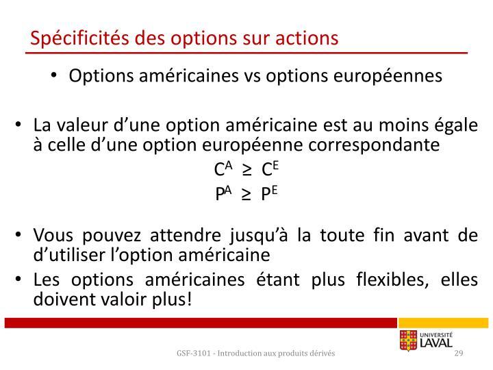 Spécificités des options sur actions