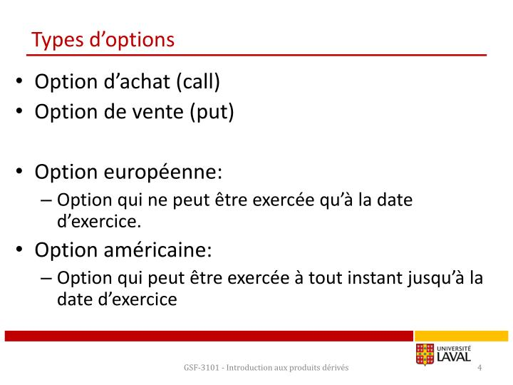 Types d'options