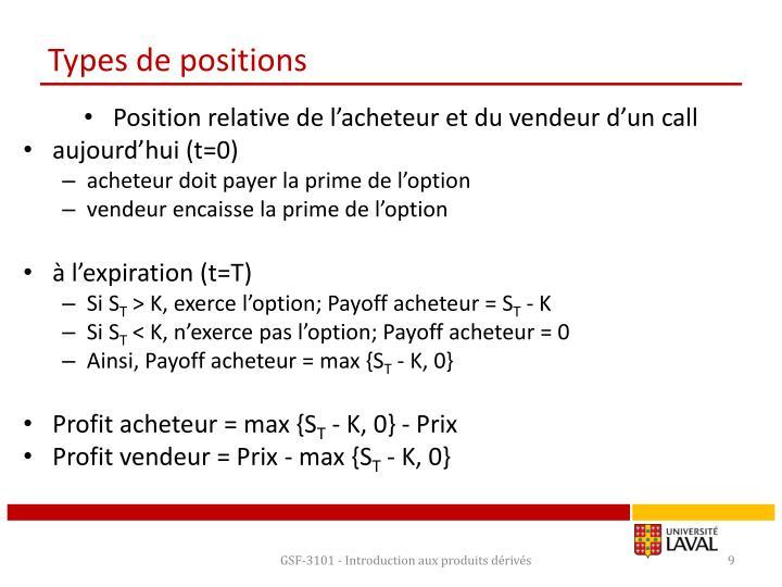 Types de positions