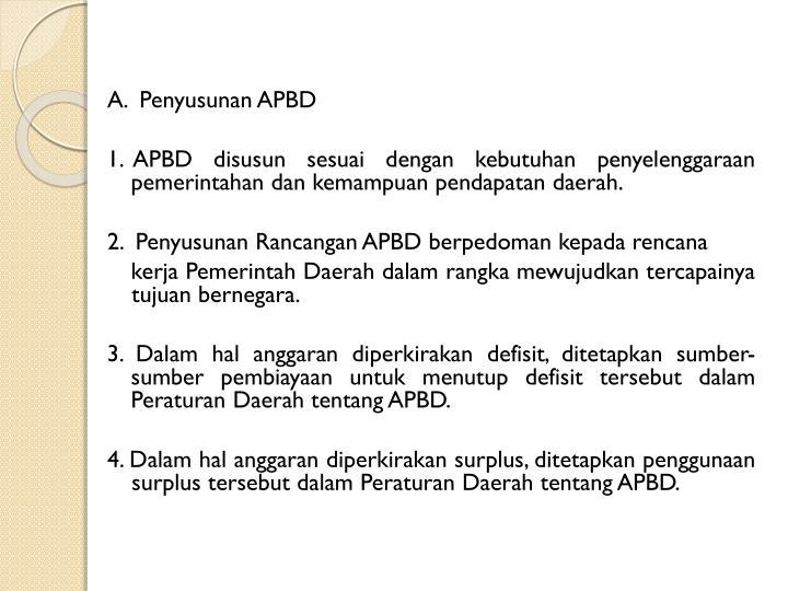 A.  Penyusunan APBD