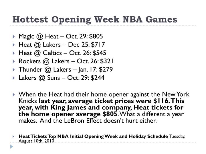 Hottest Opening Week NBA Games