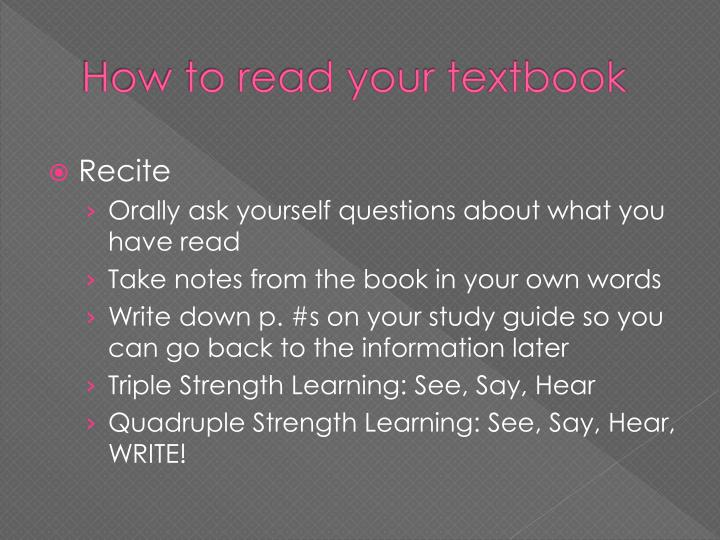 How to read your textbook