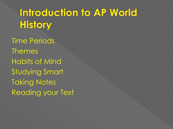 Introduction to ap world history