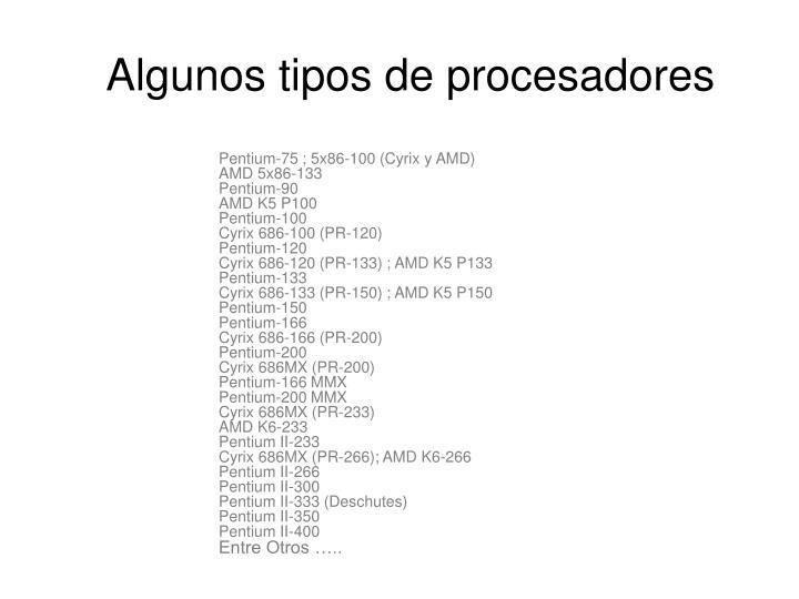 Algunos tipos de procesadores