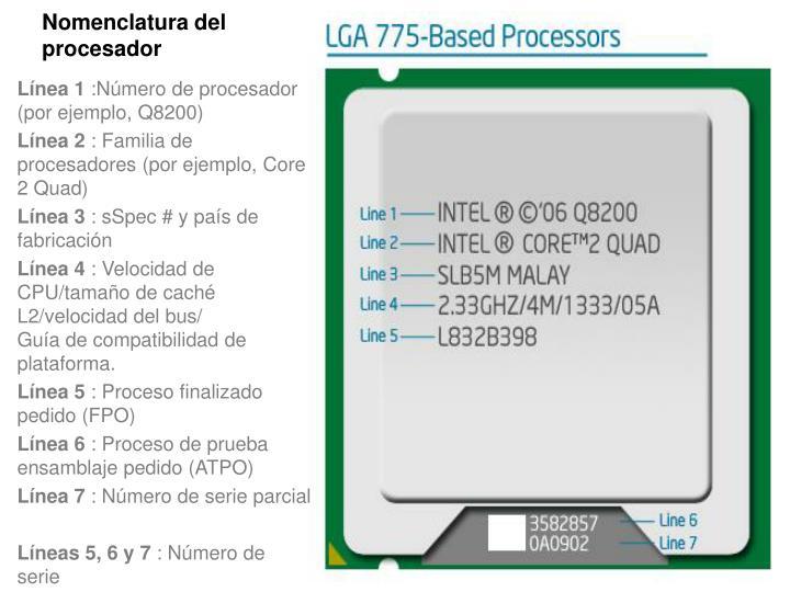 Nomenclatura del procesador