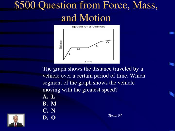 $500 Question from Force, Mass, and Motion