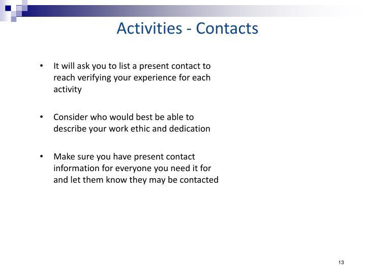 Activities - Contacts