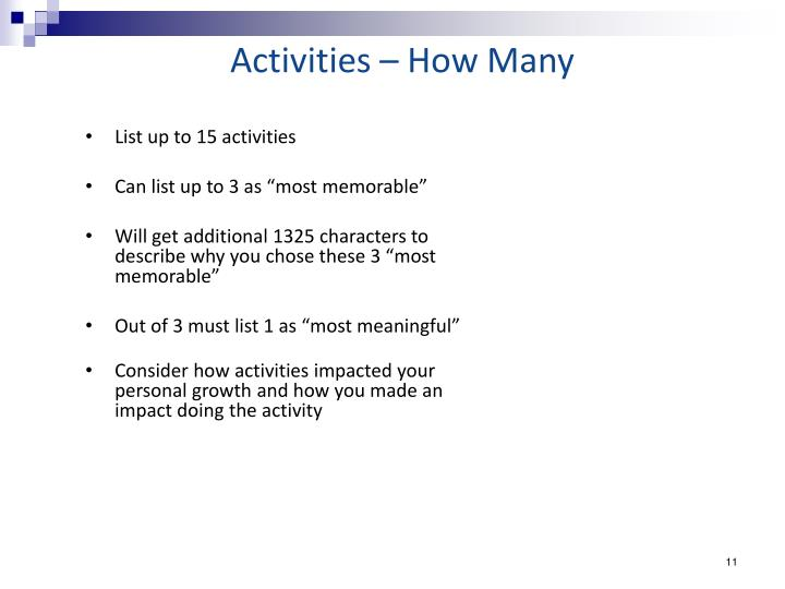 Activities – How Many